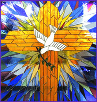 This panel captures the exuberant light of the descending Holy Spirit, and is placed in a light box above the baptismal in a Baptist church in Tucson, Arizona.